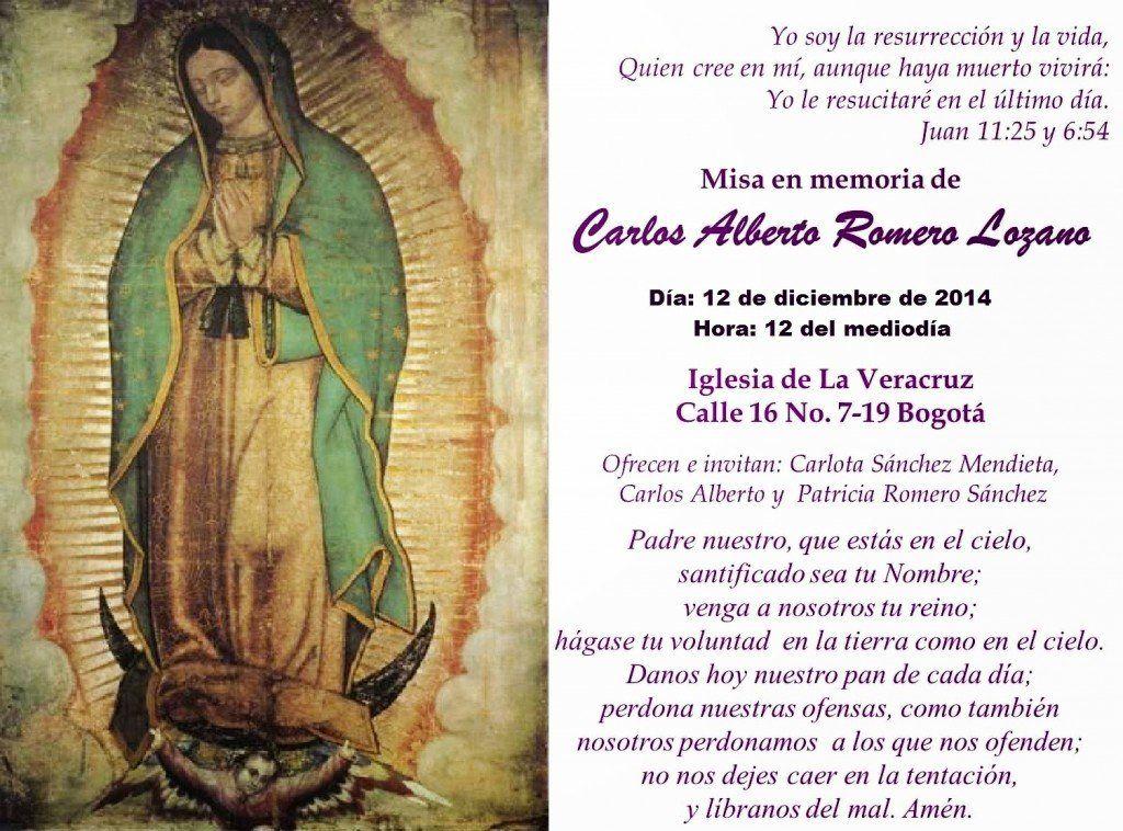 Misa 4 mes en memoria de Carlos Alberto Romero Lozao